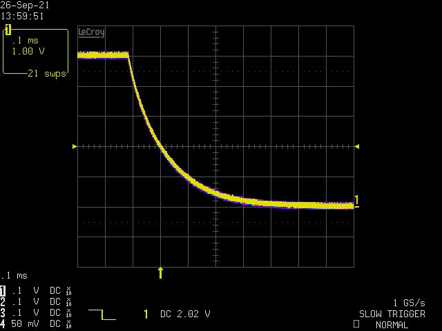 回路C、0.1ms/div、立ち下がりエッジ