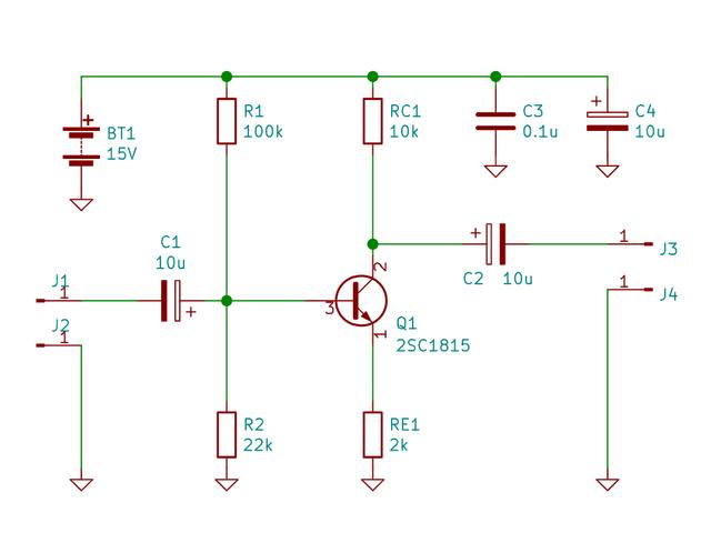 エミッタ接地増幅回路の回路図