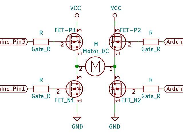 FETを使ったHブリッジ回路の例