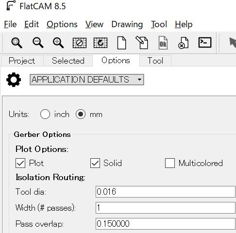 FlatCAMの単位を設定する