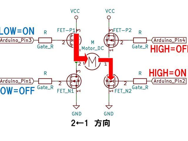 FETのHブリッジ(2→1方向回転時)