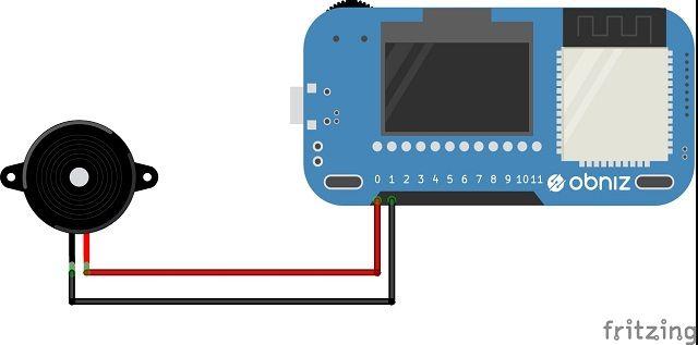 obnizと圧電スピーカーの接続図